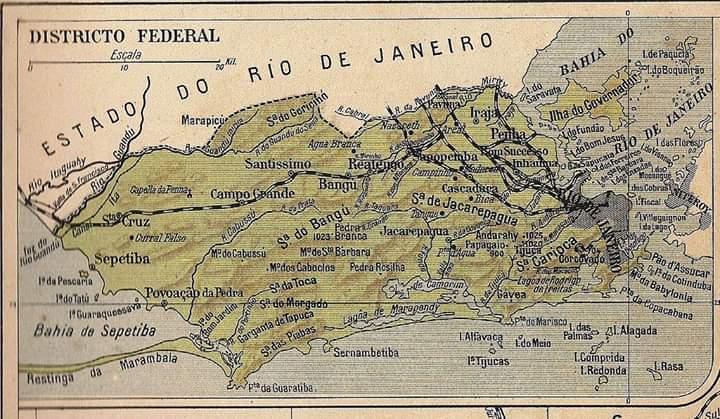 Mapa do Rio de Janeiro da época em que era Distrito Federal